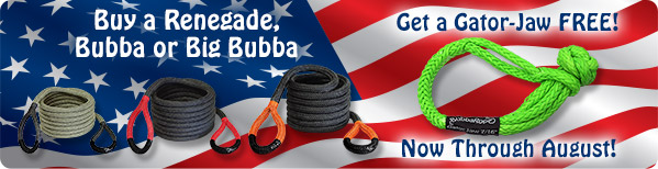 Buy a Renegade, Bubba or Big Bubba Rope and get a Gator-Jaw FREE!