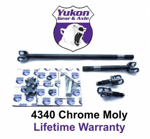 Yukon Gear And Axle - Yukon 4340 Chrome-Moly replacement axle kit for Jeep TJ Rubicon Wrangler 44, w/ Super Joints.