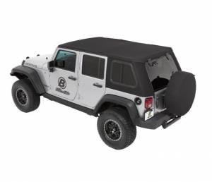 Soft Tops - Bestop Soft Top Jeep JK Wrangler 2007-2016 - Bestop - Bestop Trektop Pro Hybrid Soft Top Jeep 07-16 Wrangler JK Black Twill 54853-17