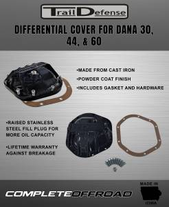 Trail Defense - Trail Defense Dana 44 Differential Cover - Cast Iron  (TD44A) - Image 6